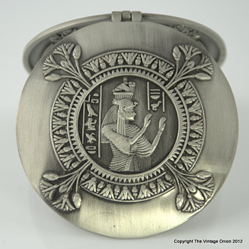 Egyptian Pharaoh Adorned Heavy Metal Compact Mirror - Accessories