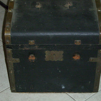 Small Trunk with Brass Bands and Buttons