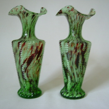 Bohemian Welz Glass Vases....Oxblood and Green - Art Glass