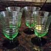 Green Vaseline glass with black bottom