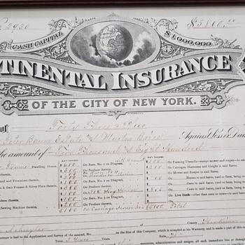 Continental Insurance Company 1886 - Paper