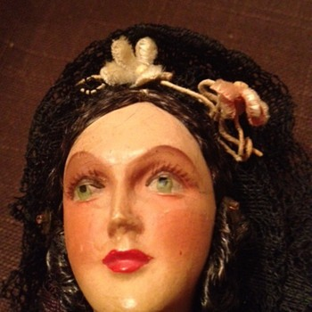 Old Spanish or Mexican Doll- face close up - Dolls