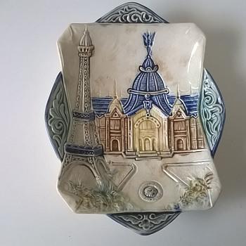 1889  Paris Exposition Souvenir Dish Featuring The Eiffel Tower & The Central Dome