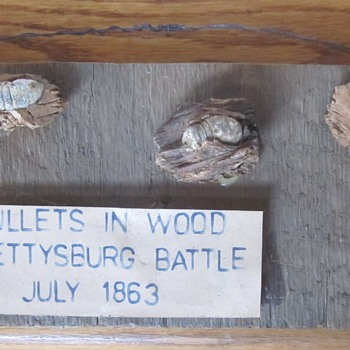 Bullets in Wood. Recovered from battlefield. - Military and Wartime