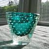 Small blue/green Murano bullicante vase