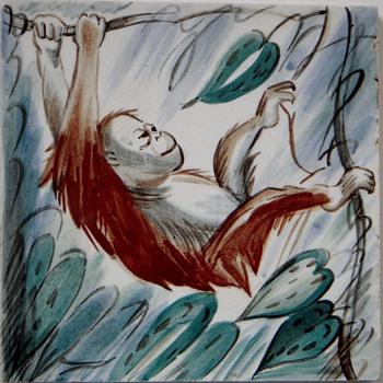 1940's-50's Handpainted Royal Copenhagen Tile~Orangutang on Vines - Pottery