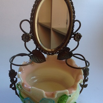 Victorian mirrored vanity stand & glass bowl with applied flowers - Art Glass
