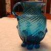 Blue Spiral Lily Pad Footed Blown Pitcher