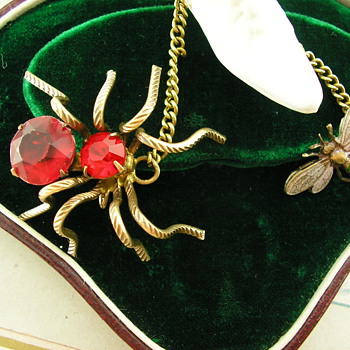 Art Deco Enamel & Paste Chatelaine Brooch Spider & Fly  - Costume Jewelry