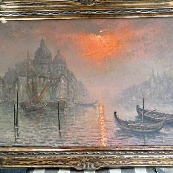 "Sunset-Sunrise The Grand Canal Venice / 24"" x 36"" Signed / Circa 1950's-1960's - Fine Art"