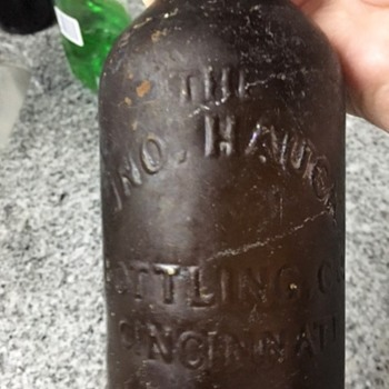 Bottle labeled JNO Hauck Bottling Co. Cinncinati