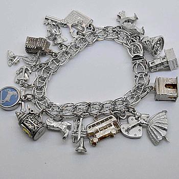 Silver Charm Bracelet - Costume Jewelry