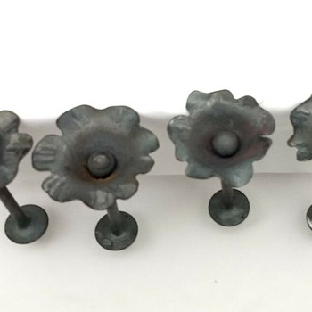 Antique Hand Forged Wrought Iron Flower Design Curtain Tie Backs - Tools and Hardware
