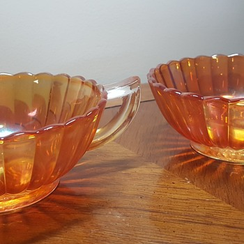 Pair of Carnival Glass Nappy Bowls