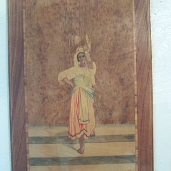 Inlaid wood painting