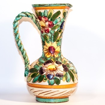 "Antique? Braided Handle Flower Pattern Pottery ""Pitcher"" - Pottery"