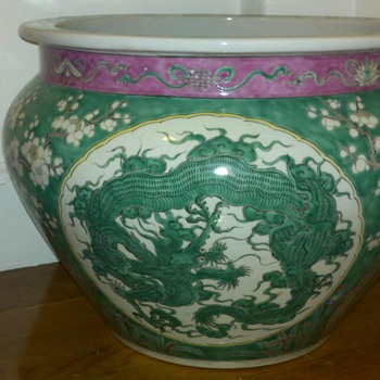 Green Chinese Porcelain Jardiniere Late 1800's -early 1900's - Asian