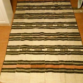 Large Hemp Blanket-Strip-Panels, Tassels- African/South American?