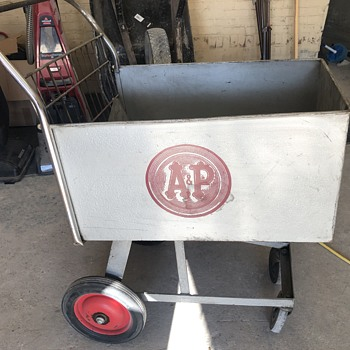 A&P vintage cart found in ceiling of old A&P being remodeled  - Advertising