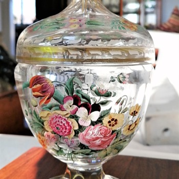 Bohemian Glass (?) with Hand Painted Details and Floral Engraving - Art Glass