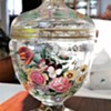 Bohemian Glass (?) with Hand Painted Details and Floral Engraving