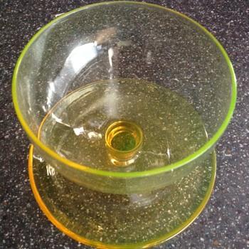 Amber uranium glass sundae dish - Glassware