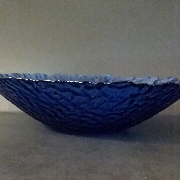 Mystery blue glass bowl - Art Glass