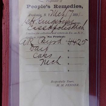 1891 Receipt - Paper