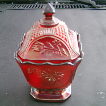 Imperial Red Carnival Glass Covered Candy Jar. need help with pattern/year - Glassware