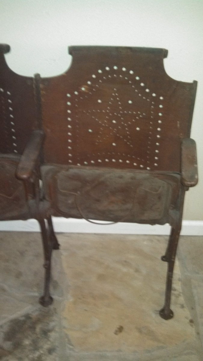 Brilliant Antique Folding Cast Iron Church Chairs Wood Row Of 4 Ncnpc Chair Design For Home Ncnpcorg