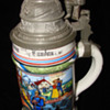 Imperial German reservist's stein of Aegid Bleitfuls with rare Sniper thumb lift