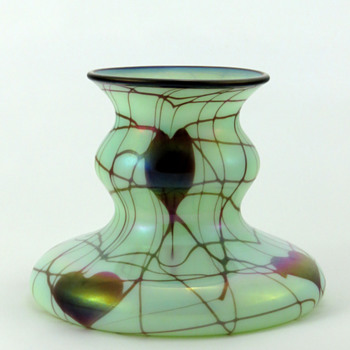 Fenton 3005 Antique Green Off Hand Line Vase ca. 1925-26 - Art Glass