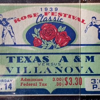 TEXAS A&M vs VILLANOVA 1938 Full Ticket - Football