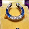 Antique Vicorian Diamond Ceylon Sapphire 18k 750 Plat Top Ring