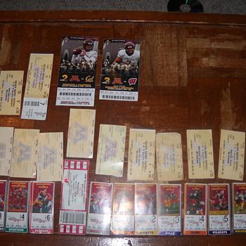 2000-09 University of Minnesota Football ticket stubs