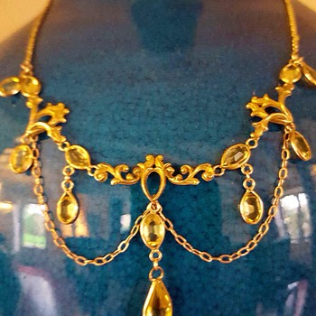 1890' citrine festoon necklace. - Fine Jewelry