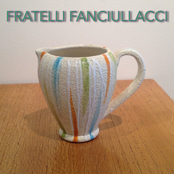 FRATELLI FANCIULACCI MODERNIST STUCCO JUG - Pottery