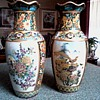 A Pair of Ornate Satsuma Vases / Birds and Floral Design with Moriage Gilding / Unmarked and Unknown Age