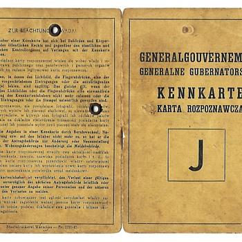 WW2 kennkarte - special Jewish ID card from GG - Paper