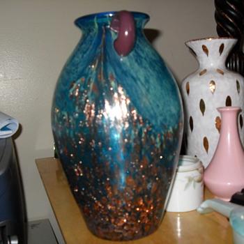 Beautiful Blue vase with gold flecks - Glassware