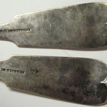 Mid 1800's(?) Sterling Silver Spoons w/ Hallmark and Hand Tooled - Silver
