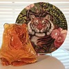Viking Glass tiger paperweight, Fitz & Floyd tiger plate