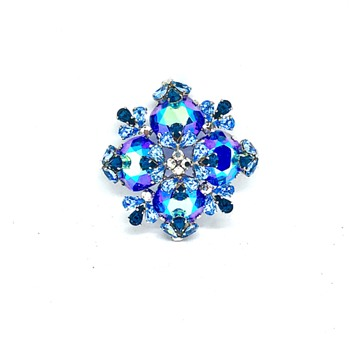 1958 Christian Dior Blue Peacock Aurora Borealis Rhinestone Flower or Cross Brooch - Costume Jewelry