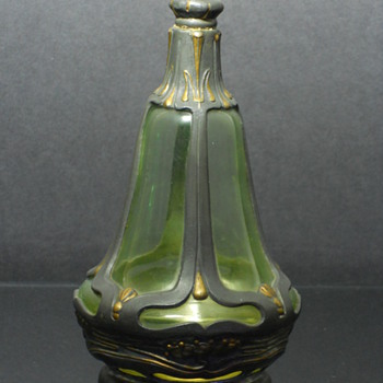 Bohemian? uranium glass perfume bottle or decanter