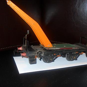 Vintage train car with partial crane