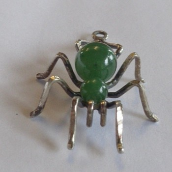 Sterling & Jade Spider Pendant - Fine Jewelry