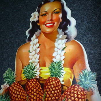 Libbys Pineapple Hawaiian Hula Girl Supermarket Stand Up Cardboard Display Pin Up - Signs