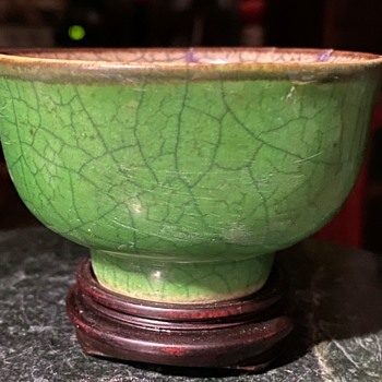 Green Crackleware Cup - Asian