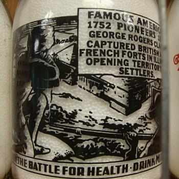 """Famous American Pioneers"" Milk Bottle.................. - Bottles"