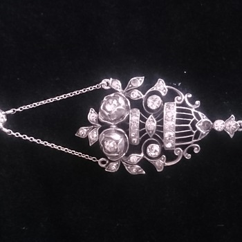 Edwardian lavalier paste necklace by KNOLL AND PREGIZER, Pforzheim Germany. - Fine Jewelry